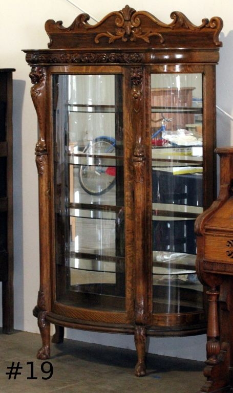 ... Image 2 : Antique Curio China Cabinet Curved Glass ... - Antique Curio China Cabinet Curved Glass