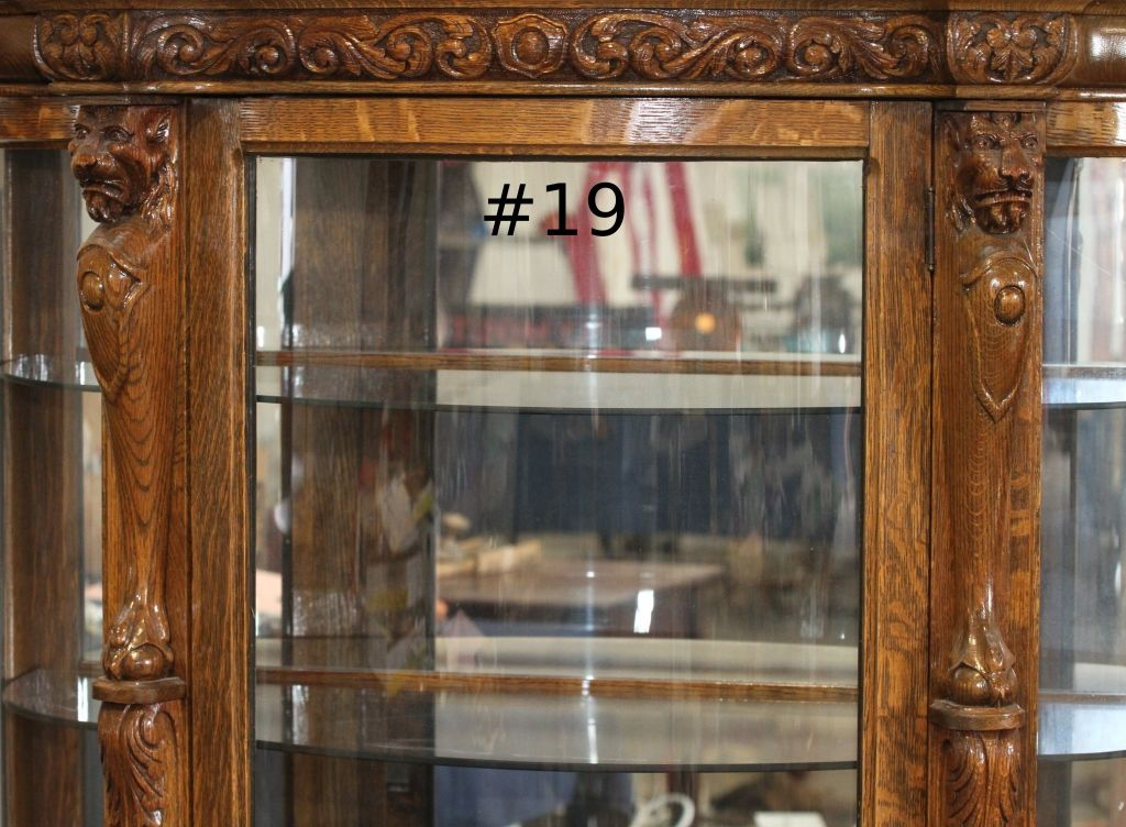 ... Image 4 : Antique Curio China Cabinet Curved Glass - Antique Curio China Cabinet Curved Glass