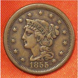 1855 Large Cent - Upright 5's Braided Hair