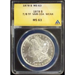 1878-P Morgan Dollar ANACS MS 63 VAM-33A 7/8TF BU