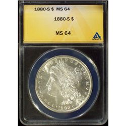 1880-S Silver Morgan Dollar ANACS MS 64 Choice BU