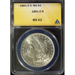 1881-O Silver Morgan Dollar ANACS MS 62 BU