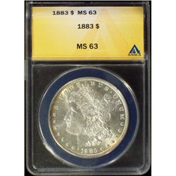 1883-P Silver Morgan Dollar ANACS MS 63 Choice BU