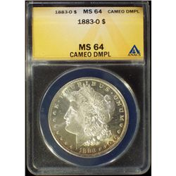 1883-O Morgan Dollar ANACS MS 64 Cameo DMPL BU