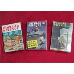 3 Popular Science Magazines - 1942, 1947 & 1956