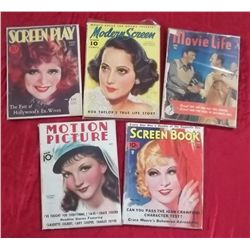 5 1930's - 1950's Film & Movie Magazines