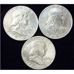 3 - 90% Silver Circulated Franklin Half Dollars
