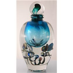"Large Jean-Claude Novaro ""Bubble Vase Blue"" Hand Made Glass Decanter Signed and Dated 12""H"