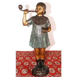 "Bronze Statue Girl Blowing Bubbles 34""h"