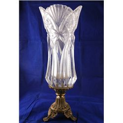 "Crystal Vase on Bronze Pedestal 14"" Tall"