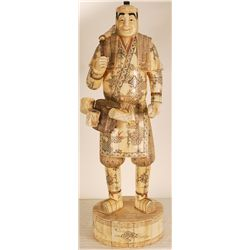 "Hand Carved Japanese Bone Figure 30"" Tall"