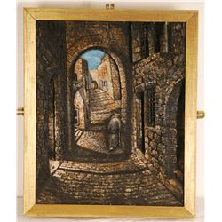 Framed Oil on Sculpted Composition of Holy Street in Jerusalem by Manobla (1930-1979)