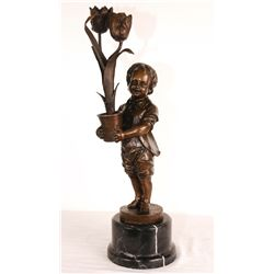 "Bronze Boy With Pot of Flowers 20"" Tall"