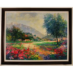 "Alex Perez ""Provencal Landscape"" 50""x40"" Original Oil on Canvas"
