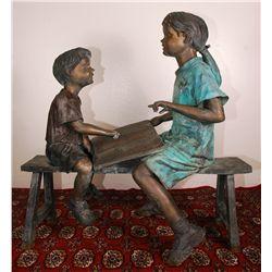 "Bronze Boy and Girl on Bench 41"" Long"