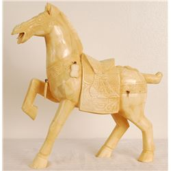 "Hand Carved Bone Horse 17""Tall"