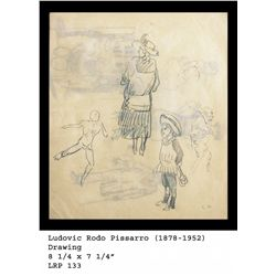 "Ludovic Rodo Pissarro ""Family"" Original Drawing"