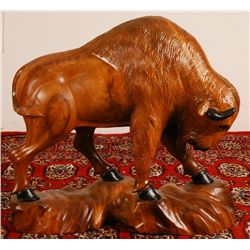 "Hand Carved Wooden Buffalo 21"" W x 18""Tall"