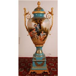 Bronze and Porcelain Hand Painted Champion Vase