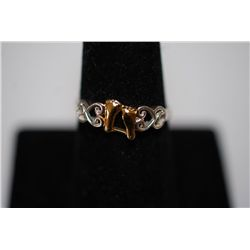 "Sterling Silver Ring Size 8 With Gold-Toned Baby Feet And Inscription ""It Was Then That I Carried Yo"