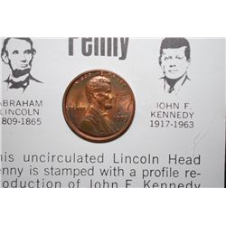 1973 Lincoln Penny With Profile Of Kennedy Printed On Obv. & History; EST. $5-10