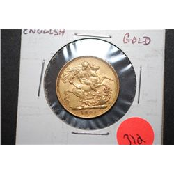 1901 Great Britain Souv Gold Foreign Coin; EST. $400-450