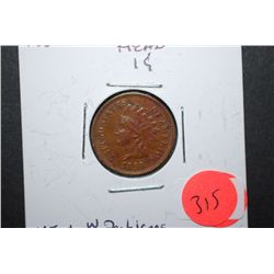 1868 Indian Head One Cent; VF+ With Problems; EST. $125-170
