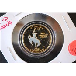 2007-D Wyoming State Quarter; CLAD Gold With Holographic Image; EST. $1-3