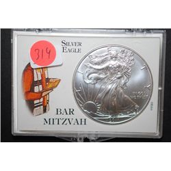 2011 US Silver American Eagle $1 In Bar Mitzvah Holder; 1 Oz. Fine Silver; EST. $35-40