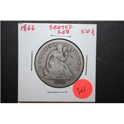 1866 Seated Liberty Half Dollar; EST. $30-40