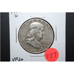 1957-D US Ben Franklin Half Dollar; VF20; EST. $10-20