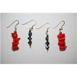 Red Stone Drop Earrings & Black Stone Drop Earrings; Lot of 2; EST. $10-20