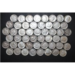 Roosevelt & Mercury Dime; Various Dates, Conditions & Mint Marks; Lot of 50 Silver; EST. $125-150