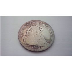 1853 SEATED LIBERTY SILVER HALF DOLLAR, ARROWS+RAYS