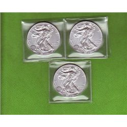 THREE .999 PURE SILVER ONE TROY OZ AMERICAN EAGLES