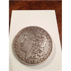 1893 MORGAN SILVER DOLLAR, VF