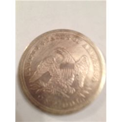1850 SEATED LIBERTY SILVER DOLLAR, XF