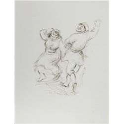 Ira Moskowitz, Dancing Couple - II, Ink Drawing