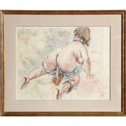 George Grosz, Nude, Gouache, Watercolor, Pen and Ink Drawing