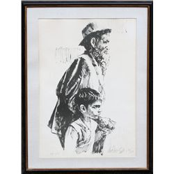 Moshe Gat, Father and Son, Lithograph