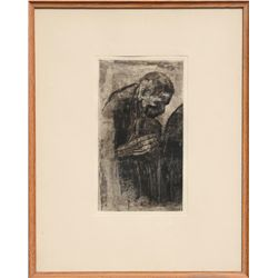Kathe Kollwitz, Portrait of a Man, Etching