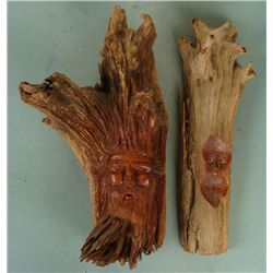 2 Pete Cobb Hand Carved Tree Trunk Sculptures Faces