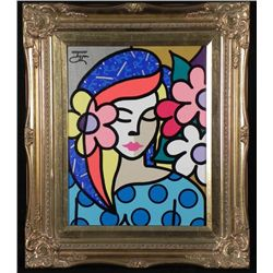 Original Signed Jozza Oriental Girl Framed Painting