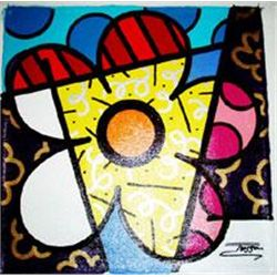 Jozza Original Pop Art Painting On Canvas Flower