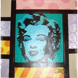 Jozza Original Art Painting Marilyn Monroe Aqua Face