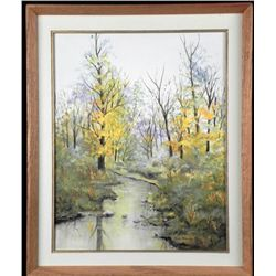 Russ Patrick Original Painting Autumn Stream Frmd 1986