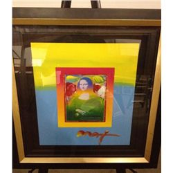 Peter Max Original Painting Over Serigraph -Mona Lisa
