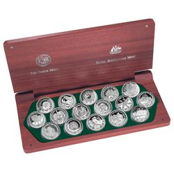 Australia 2000 5 Dollars Sydney Olympics 16-Coin Silver Proof Set in Jarrah Case