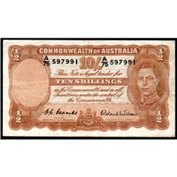 Australia 1952 Coombs-Wilson 10 Shillings A/75 First Prefix