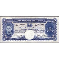Australia 1952 Coombs-Wilson 5 Pounds S/27 First Prefix